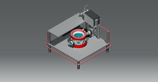 3D render of MOT setup